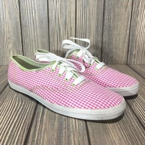 Keds Gingham Check Canvas Lace Up Shoes Sneakers